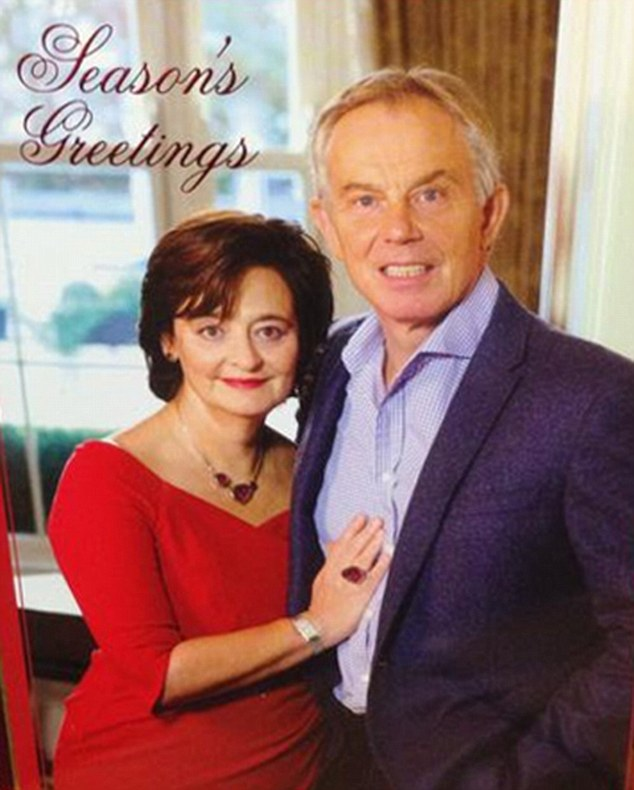 Erm, everything all right there Tony? The card sent out by Tony Blair this year showing him and wife Cherie posing together was met with ridicule last night - not least because of the former PM's odd expression
