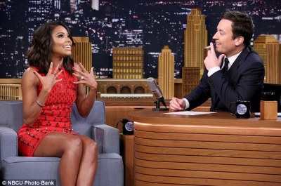 Leggy display: The evergreen 42-year-old star donned a sleeveless mini dress designed byGeorges Chakra as she chatted with the talk show host