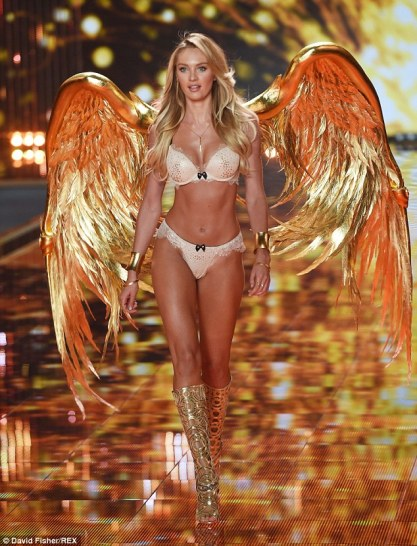 Candice Swanepoel swaps racy black lingerie for golden number at Victoria's  Secret fashion show | Daily Mail Online