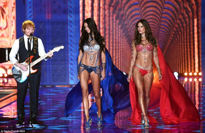 Lucky man! Ed Sheeran got to perform alongside the ladies as they stepped out in the custom-made bras, designed byMouawad