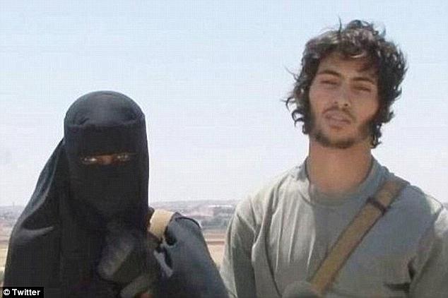 Jihadi bride: Another Briton who left Britain to join ISIS is Lewisham-born Khadijah Dare (left, with her Swedish terrorist husband Abu Bakr)