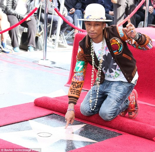 An honor: Pharrell Williams was given a star on the Hollywood Walk of Fame on Thursday for his acclaimed career in music