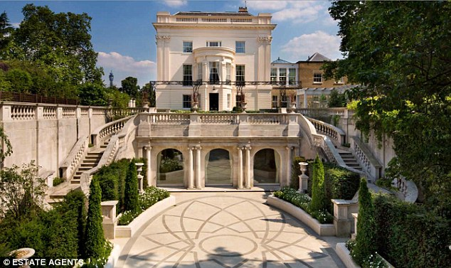 The garden sits at lower ground level, at the back of number 1 Cornwall Terrace, and is accessible by two sets of stairs. In the summer it can be dramatically lit to look like a ballroom