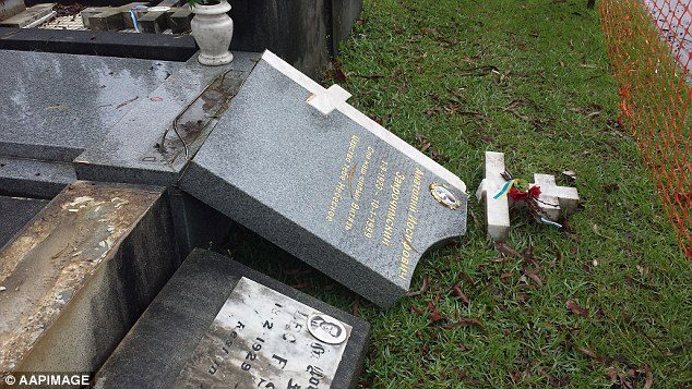 The gravestone of Anatole Zakroczymski's (pictured) lies smashed at Rookwood Cemetery. His widow said it was a 'very cruel' act