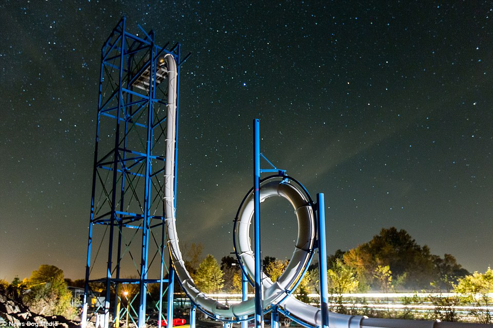 The SkyCaliber loop de loop waterslide on a testing ground in Missouri, USA which is set to break three world records when it opens next year