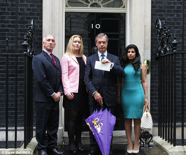 The party leader (pictured calling for debate on EU referendum with other party members outside No. 10 Downing Street) insisted 'stupid and offensive' views of individuals were not those of the whole party