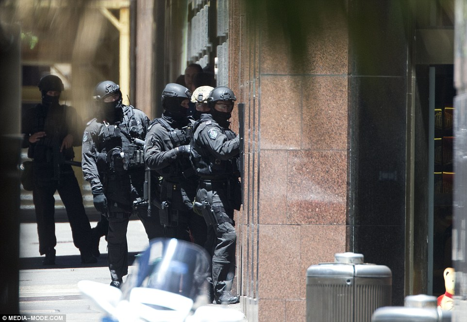 People in the area encompassing Hunter, George, Elizabeth and Macquarie streets bordering Martin Place have been directed to remain indoors and away from open windows