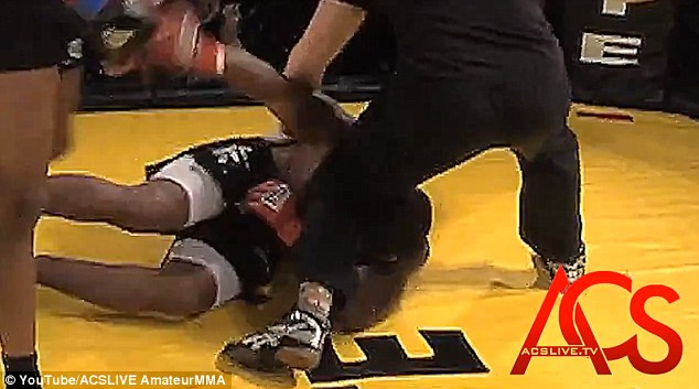 Grays was floored by the brutal kick from his opponent and his prosthetic eye was dislodged