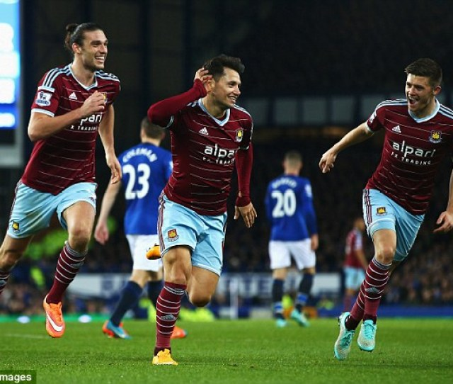 West Ham United Players Celebrate With Mauro Zarate After His Goal Against Everton On November 22