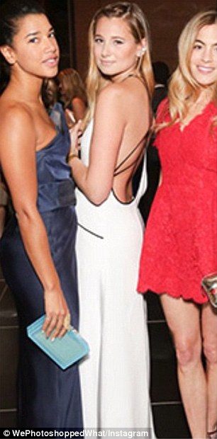 Spot the difference: The Instagram account asks its followers to look at the obvious contrasts between this professional image of blogger DanielleBernstein  in the white dress, and her own