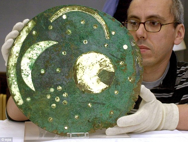 The Sky Disc was discovered in Germany in 1999 as part of a hoard also containing two bronze swords, two small axes, a chisel and fragments of spiral bracelets.