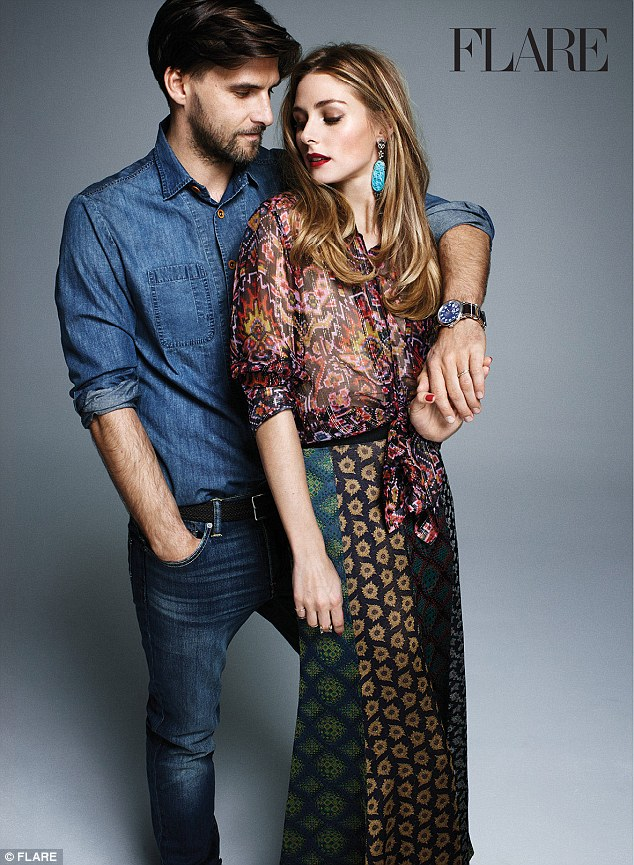Best-dressed couple: Olivia Palermo and husband Johannes Huebl pose for the February issue of Flare magazine