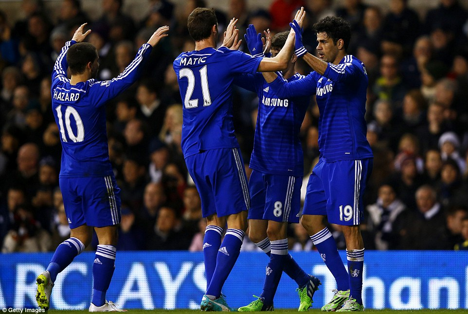Costa celebrates with Oscar, Nemanja Matic and Eden Hazard after giving the visitors the lead in the 18th minute