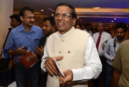 Sri Lanka¿s main opposition presidential candidate Maithripala Sirisena (centres) attends a briefing with foreign diplomats in Colombo, on January 1, 2015
