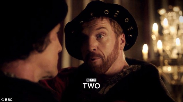 Threatening: Damian Lewis shows off his sinister side as Henry VIII in the trailer for BBC2's upcoming period drama series Wolf Hall, based on Hilary Mantel's Booker-prize winning novels