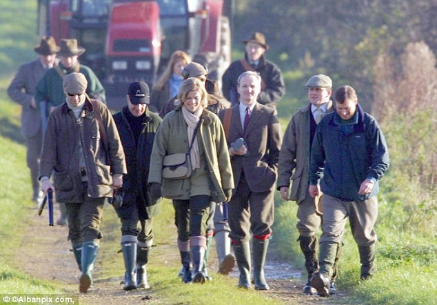 Jeffrey Epstein and Ghislaine Maxwell were among guests on this pheasant shoot, attended by Andrew (right), at Sandringham, Norfolk, after the Prince and the US businessman became friends