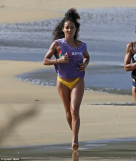 Working on her fitness: Earlier in the day, the 43-year-old actress was seen going for a beachside run