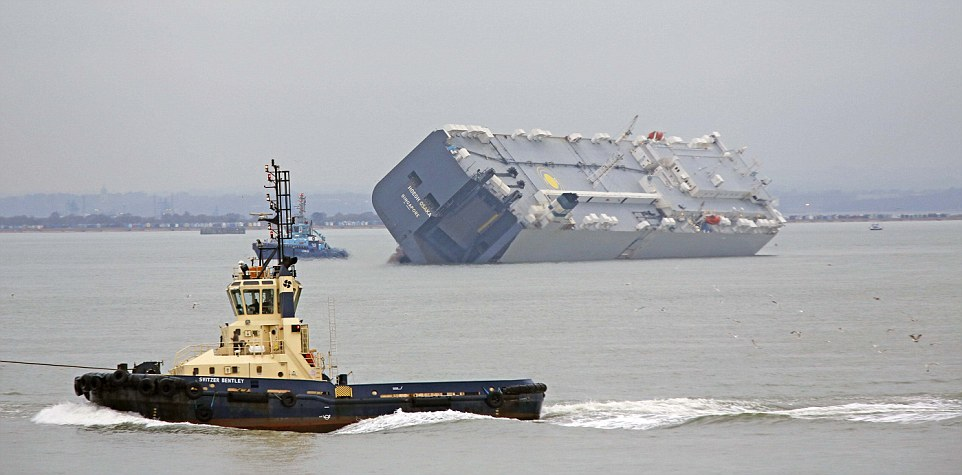 The massive container ship (pictured) was built in 2000 and has a maximum weight of almost 158,000 tonnes