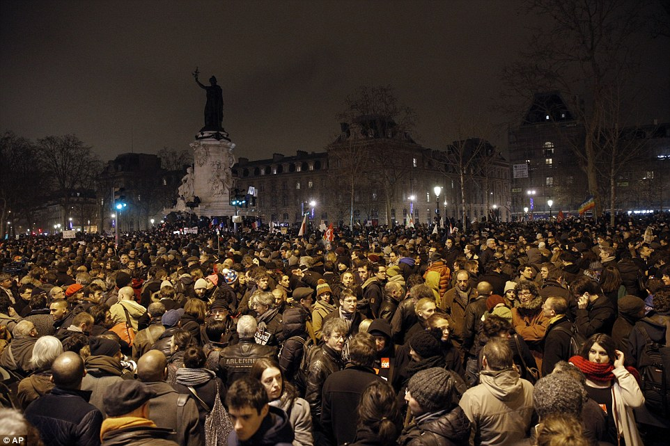 People gathered in support as journalists around the world led the trend for the hashtag, which translates as 'I am Charlie'