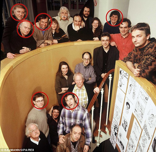 Six of the Charlie Hebdo journalists and staff members killed in yesterday's attack are pictured together in this photo, taken in 2000. Circled top from left is Philippe Honore, Georges Wolinski, Bernard Maris and Jean Cabut. Below them on the stairs, from left, is editor Stephane Charbonnier and cartoonist Bernard 'Tignous' Verlhac