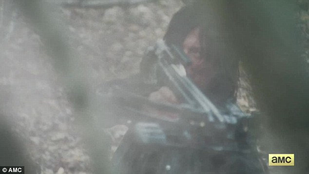 Two is better than one: His right-hand man Daryl Dixon (Norman Reedus) wielded two different weapons - a shotgun and his trusty crossbow