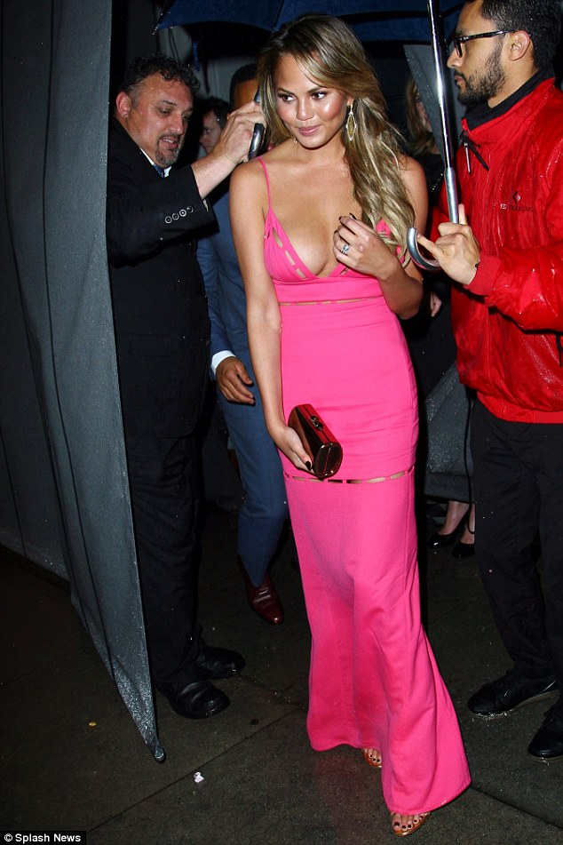 Late night party: Chrissy Teigen and John Legend headed out for a pre-Golden Globes bash in West Hollywood, on Saturday