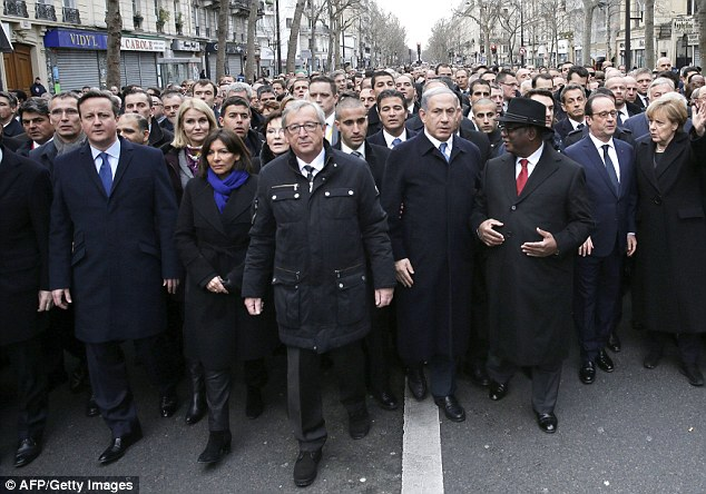 MAKING A STATEMENT: World leaders walk side by side in a show of defiance and unity at a rally in response to the terror attacks that have taken place in France, including (left to right) British Prime Minister David Cameron, Paris Mayor Anne Hidalgo, EU Commission President Jean-Claude Juncker, Israel's Prime Minister Benjamin Netanyahu, Mali's President Ibrahim Boubacar Keita, French President Francois Hollandeand Germany's Chancellor Angela Merkel