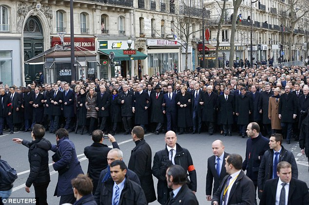 The Marche Republicaine saw numerous world leaders from Europe, Africa and the Middle East link arms and walk through the streets of Paris as a show of solidarity with France
