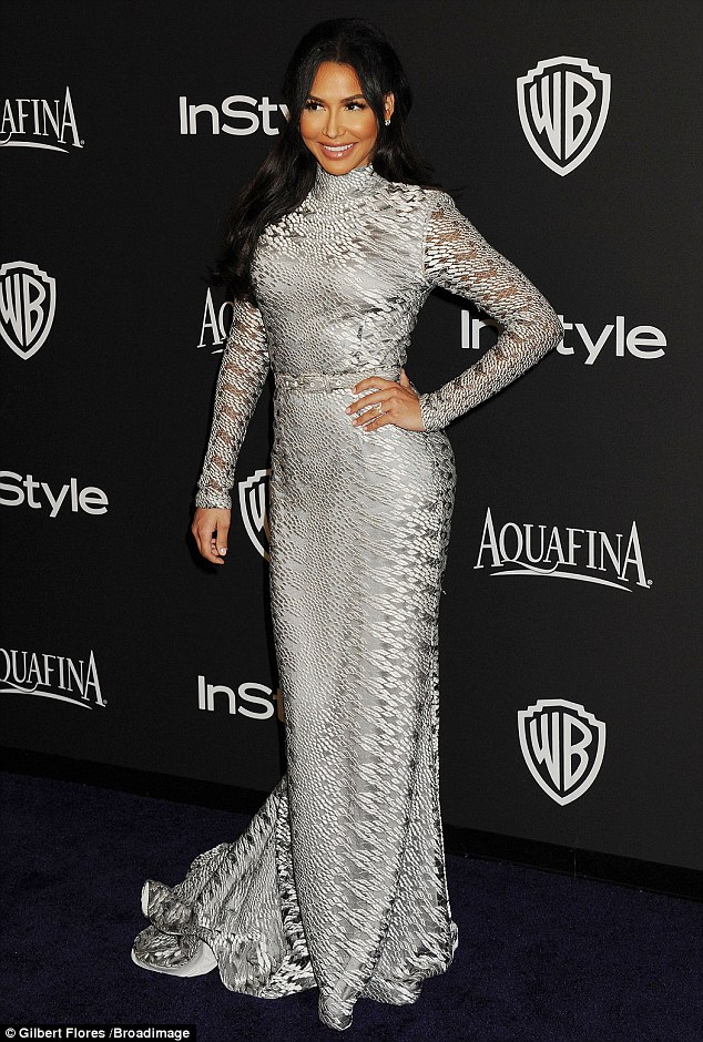 Shades of grey: Lea's Glee co-star Naya Rivera also hit the navy blue carpet at the event