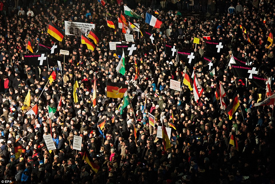 Demonstration: Organisers of the march in Dresden against the 'Islamisation of the West' claimed up to 40,000 people took part
