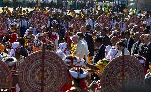 Later in the day the pope flies into Tamil territory to pray at a shrine beloved by both Sinhalese and Tamil faithful