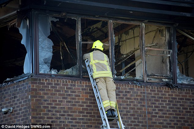 Windows were blown through by the force of the fire, which is thought to have been started after a car loaded with gas canister was driven in