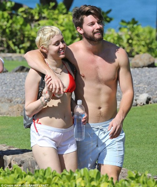 Paradise: Miley Cyrus and boyfriend Patrick Schwarzenegger enjoyed a sunny seaside hike on the island of Maui in Hawaii on Sunday