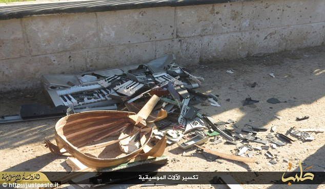After the men had been beaten the instruments were destroyed. ISIS has been enforcing a terrifying vision of Sharia law across its so-called Caliphate, including executing people for breeding pigeons