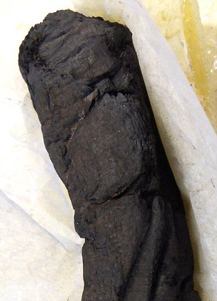 The next challenge will be to automate the process of scanning the charred lumps of papyrus (example pictured) and deciphering the texts inside them