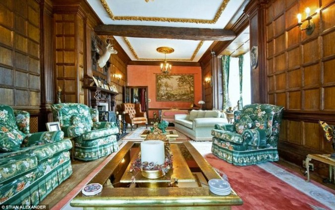 There are solid oak beams throughout the £5 million property as well as wood-paneled walls and several reception rooms for entertaining