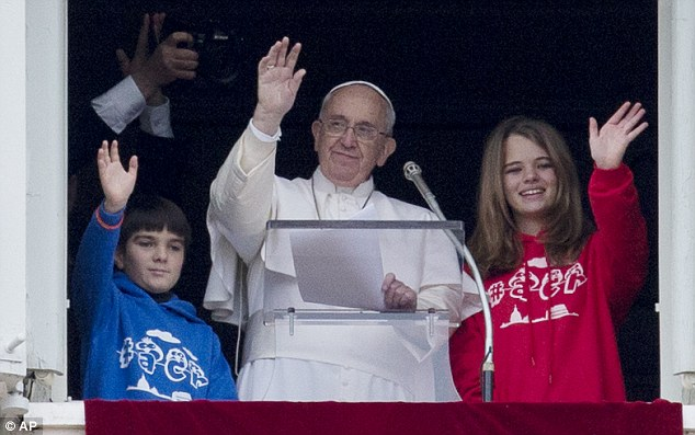 Ceremony: The Pope was taking part in a service devoted to peace alongside young children