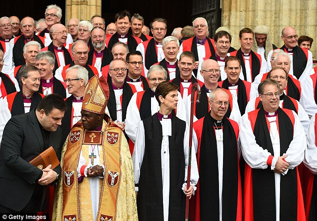Gathered together: Mrs Lane with the Archbishops of York and Canterbury after the service