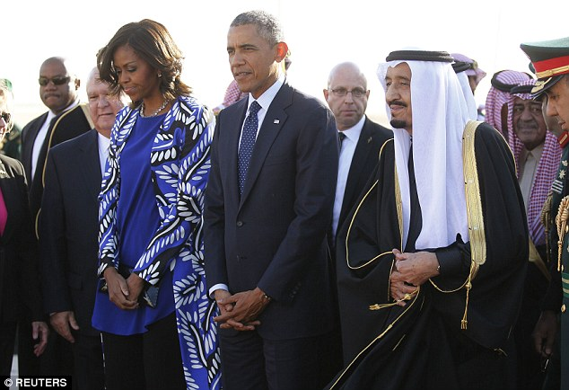Women's rights record: Just last year, King Abdullah was publicly criticized by one of his own daughters who said she and her female relatives were practically held 'hostage' in their palace for a decade due to strict restrictions for women. Mrs Obama with her husband and King Salman (right)