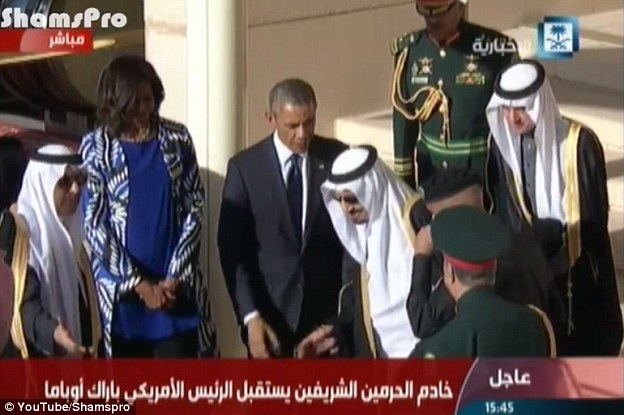 Other videos posted online of the same TV station's broadcast show Mrs Obama clearly visible