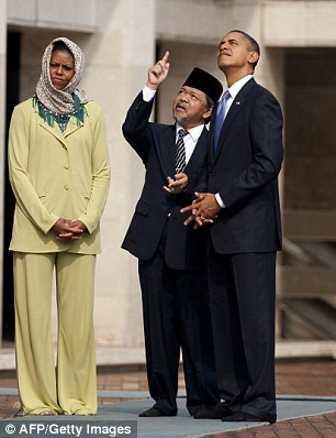 Some in the Muslim world criticized Mrs Obama for not wearing a headscarf in Saudi Arabia on Tuesday, when she had previously covered her hair on trips to other Muslim-majority countries like Indonesia. The First Lady pictured above visiting a mosque in Jakarta in 2010