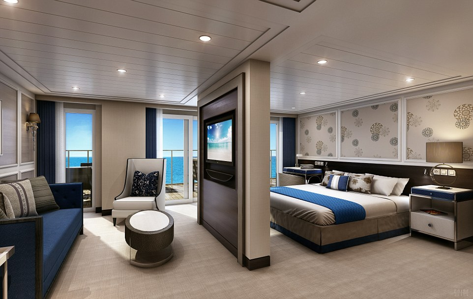The Penthouse on the Seven Seas Explorer will offer luxury and importantly decent amount of space for guests to relax
