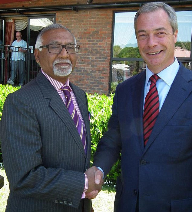 Allegations: Ukip leader Nigel Farage (right) claimed his party had been 'begging' him to drop Amjad Bashir (left) after being 'increasingly alarmed by his behaviour over the last few months'