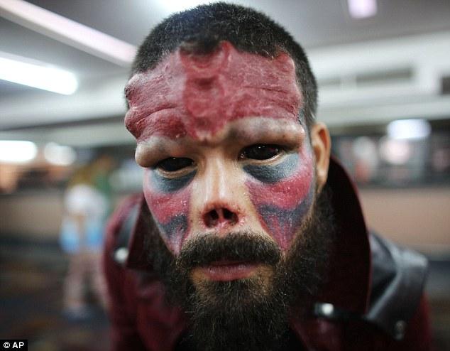Result: Mr Damon poses during theannual Venezuela Tattoo International Expo in Caracas last week