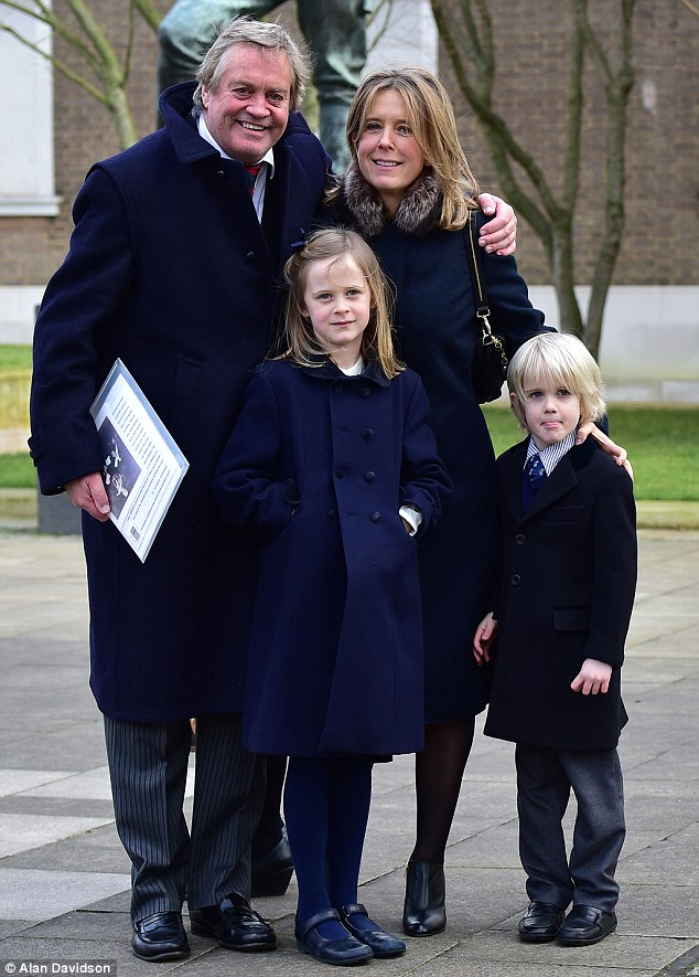Family: The 12th Duke of Marlborough, who inherited the Oxfordshire family seat Blenheim Palace, attended with his second wife Edla and children Lord Caspar, six, and Lady Araminta, seven, pictured together