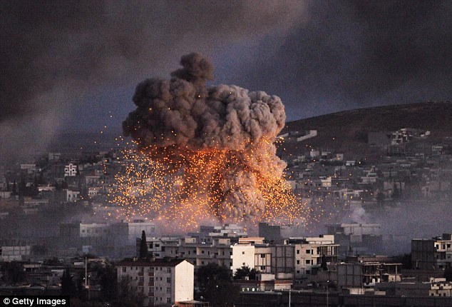 ISIS terrorists deliberately targeted the Syrian city of Kobane last autumn (pictured), they knew the Turks — nominally Western allies — would not raise a finger to stop them