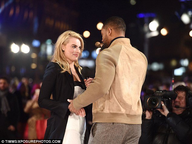 Flirty pair: The pair's chemistry was clear to see as they spoke to the crowd and their natural ease with each other sparked rumours of an affair which were instantly dismissed by both performers