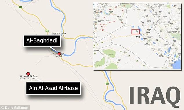Al-Baghdadi es sólo nueve kilómetros de distancia de la base aérea, donde los funcionarios iraquíes tuvieron que pedir refuerzos