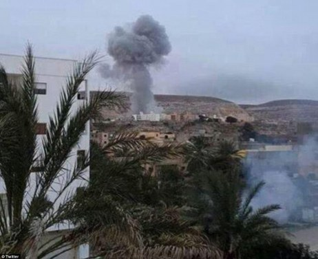Blast: This morning's airstrikes are the first time Egypt has announced military action against Islamist targets in its western neighbour, having previously denied it targeted militants there