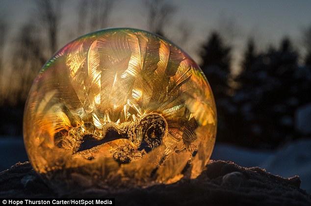 Mundo interior: Esperanza Thurston Carter capturó las imágenes después de soplar burbujas en congelación día en Michigan
